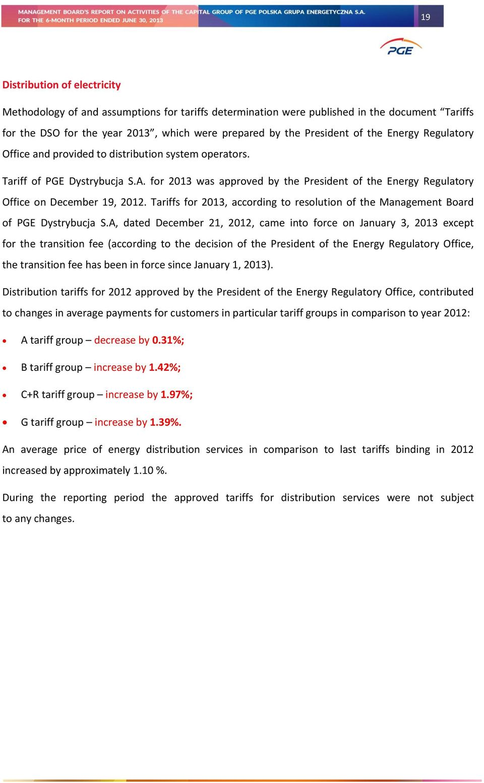 Tariffs for 2013, according to resolution of the Management Board of PGE Dystrybucja S.