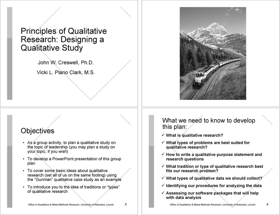 Objectives As a group activity, to plan a qualitative study on the topic of leadership (you may plan a study on your topic, if you wish) To develop a PowerPoint presentation of this group plan To