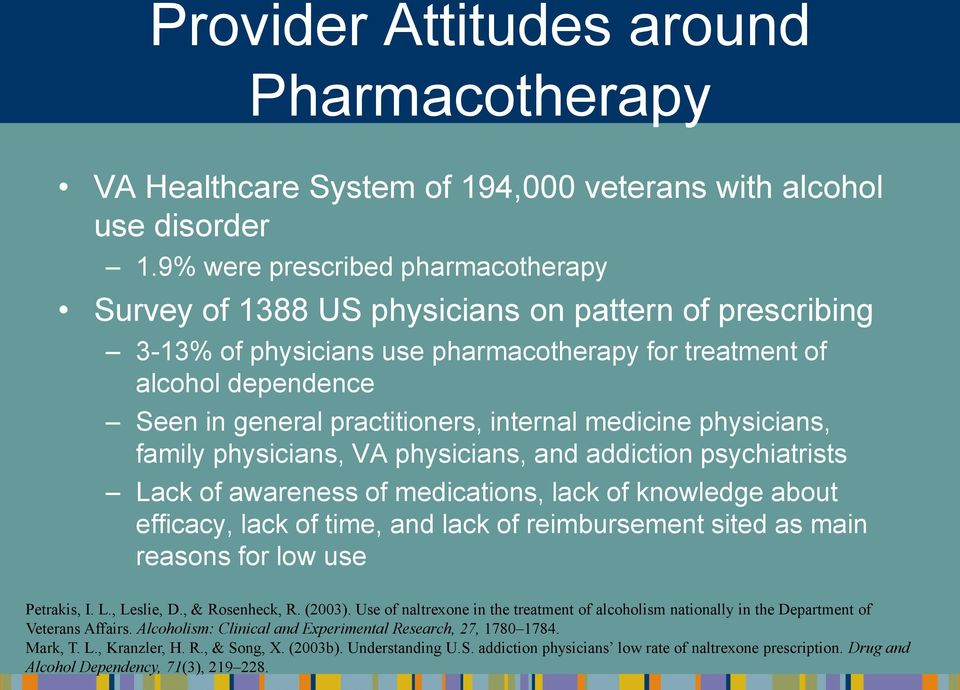 internal medicine physicians, family physicians, VA physicians, and addiction psychiatrists Lack of awareness of medications, lack of knowledge about efficacy, lack of time, and lack of reimbursement