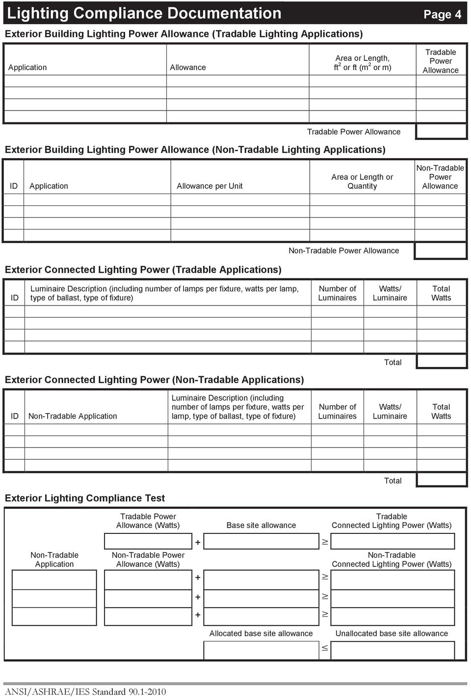 lamps per fixture, watts per lamp, type of ballast, type of fixture) s Exterior Connected Lighting (Non-Tradable Applications) Non-Tradable Application Description (including number of lamps per