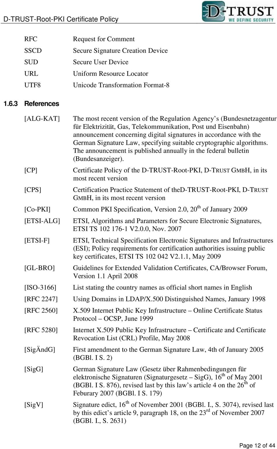 signatures in accordance with the German Signature Law, specifying suitable cryptographic algorithms. The announcement is published annually in the federal bulletin (Bundesanzeiger).