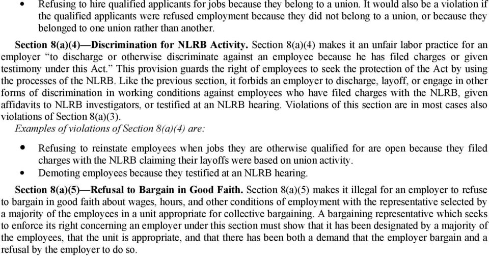 Section 8(a)(4) Discrimination for NLRB Activity.