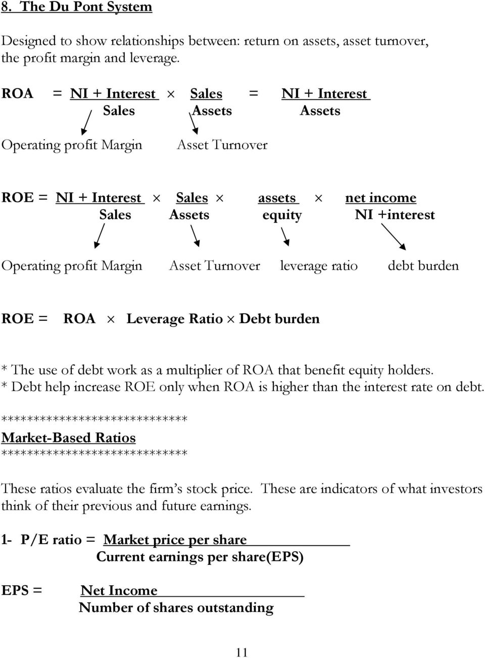 Margin Asset Turnover leverage ratio debt burden ROE = ROA Leverage Ratio Debt burden * The use of debt work as a multiplier of ROA that benefit equity holders.