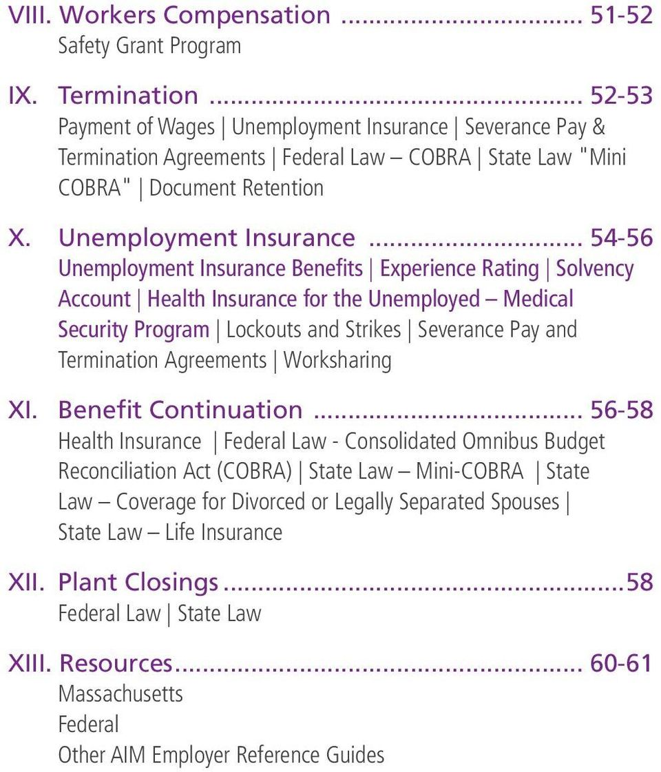 "Severance Pay & Termination Agreements Federal Law COBRA State Law ""Mini COBRA"" Document Retention X. Unemployment Insurance."
