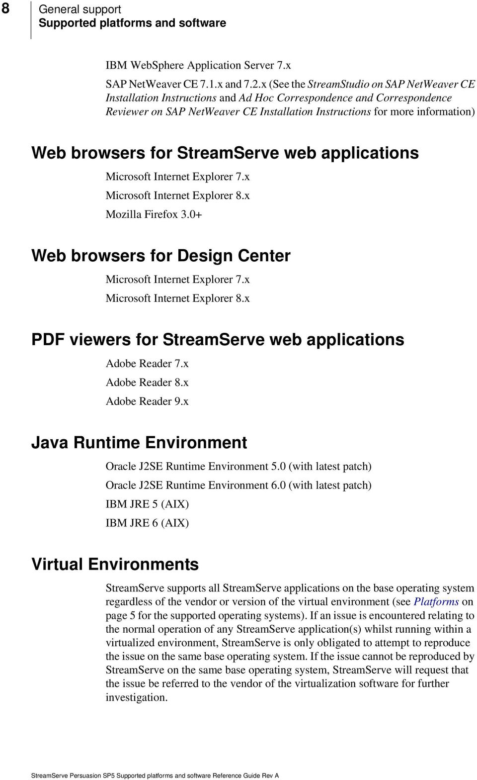 browsers for StreamServe web applications Microsoft Internet Explorer 7.x Microsoft Internet Explorer 8.x Mozilla Firefox 3.0+ Web browsers for Design Center Microsoft Internet Explorer 7.
