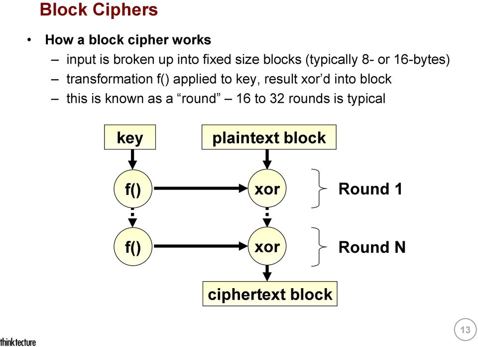 key, result xor d into block this is known as a round 16 to 32 rounds is