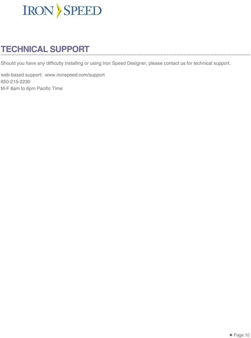 us for technical support. web-based support: www.