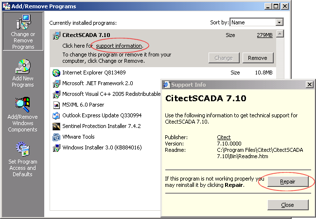 7. Click Repair. Figure 6: Support Info dialog in Windows XP SP2 and Windows 2003 8. Open Citect Explorer, wait until upgrade has completed. 9. For any project using CSV_Include templates: a.