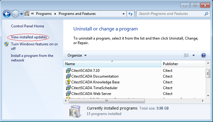 Figure 1: Programs and Features on Windows 7 3.
