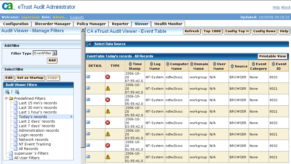 Web-based User Interface New Viewer Interface The new Viewer utility interface lets you view, sort, and filter the etrust Audit event database.