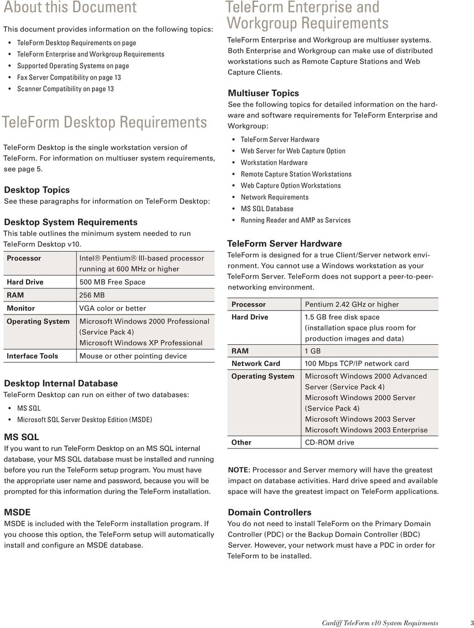For information on multiuser system requirements, see page 5.