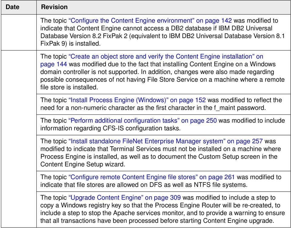 The topic Create an object store and verify the Content Engine installation on page 144 was modified due to the fact that installing Content Engine on a Windows domain controller is not supported.