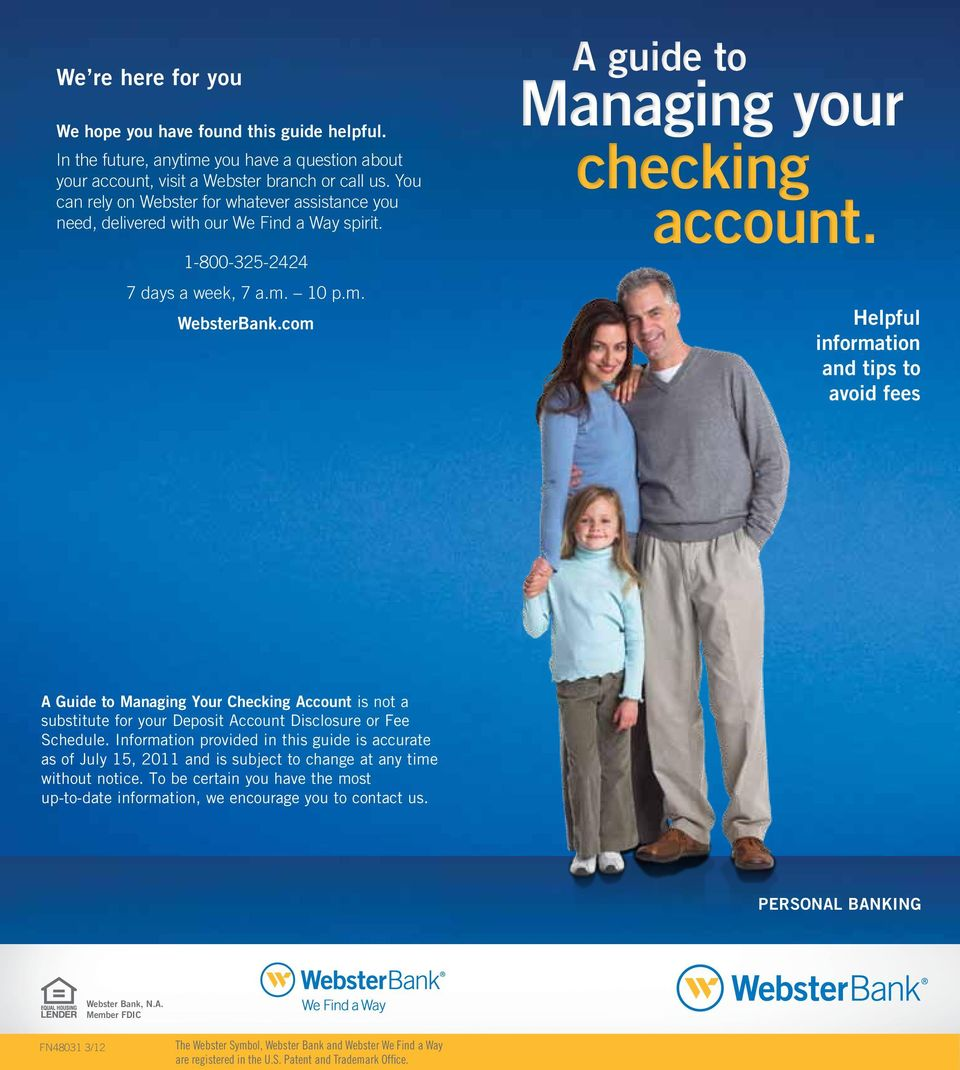 com A guide to Managing your checking account.