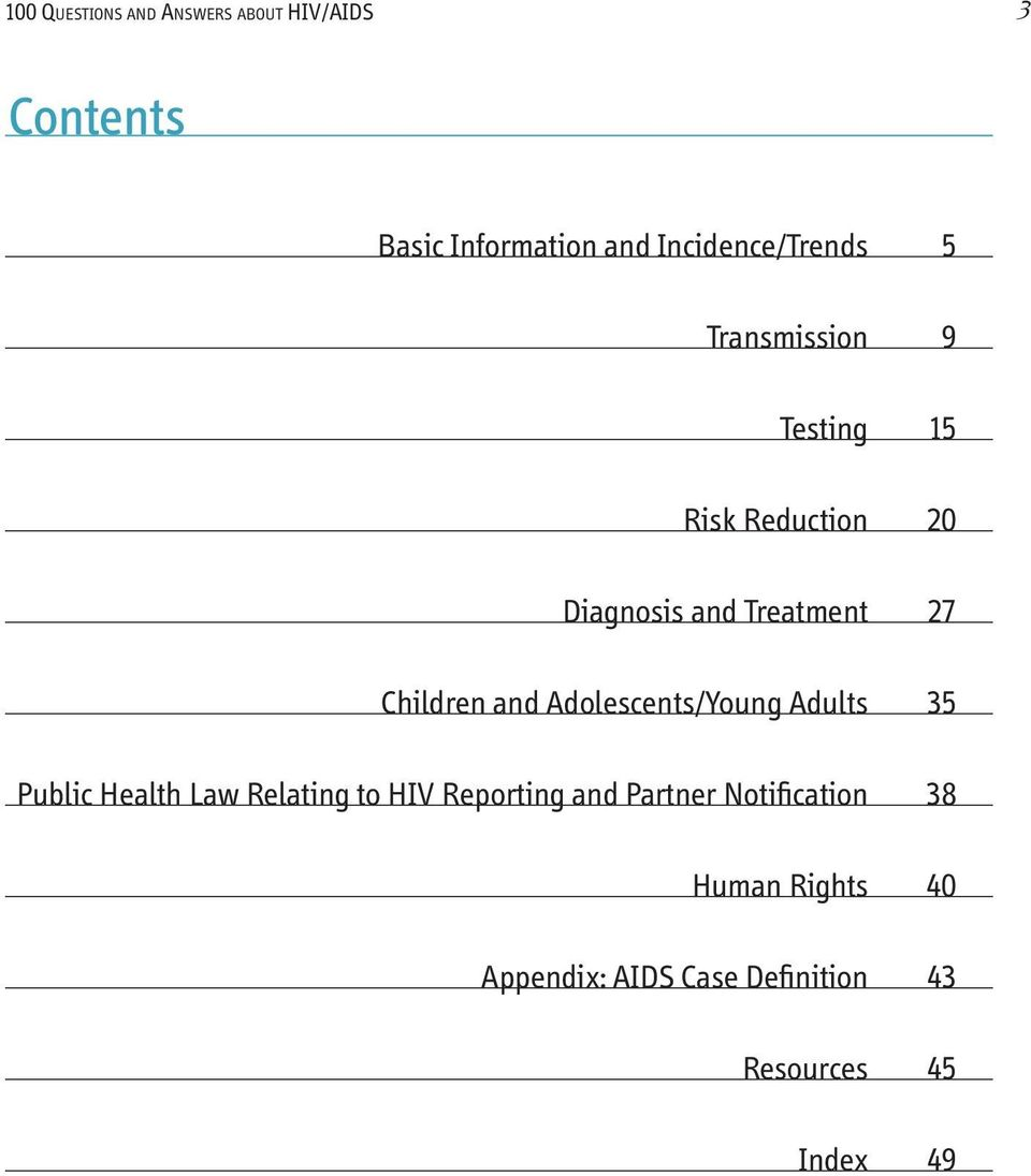 Children and Adolescents/Young Adults Public Health Law Relating to HIV Reporting and