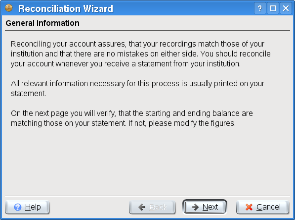 The reconciliation wizard This will open the reconciliation wizard. The first page of the wizard briefly describes the process you will follow. Click on Next to actually start the wizard.