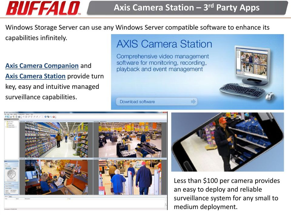 Axis Camera Companion and Axis Camera Station provide turn key, easy and intuitive managed