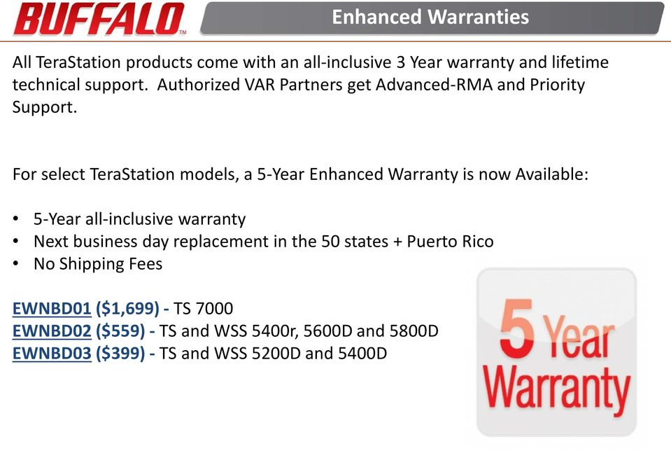 For select TeraStation models, a 5-Year Enhanced Warranty is now Available: 5-Year all-inclusive warranty Next business