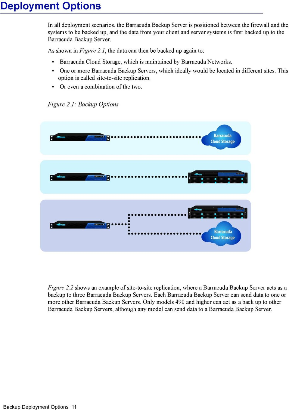 One or more Barracuda Backup Servers, which ideally would be located in different sites. This option is called site-to-site replication. Or even a combination of the two. Figure 2.