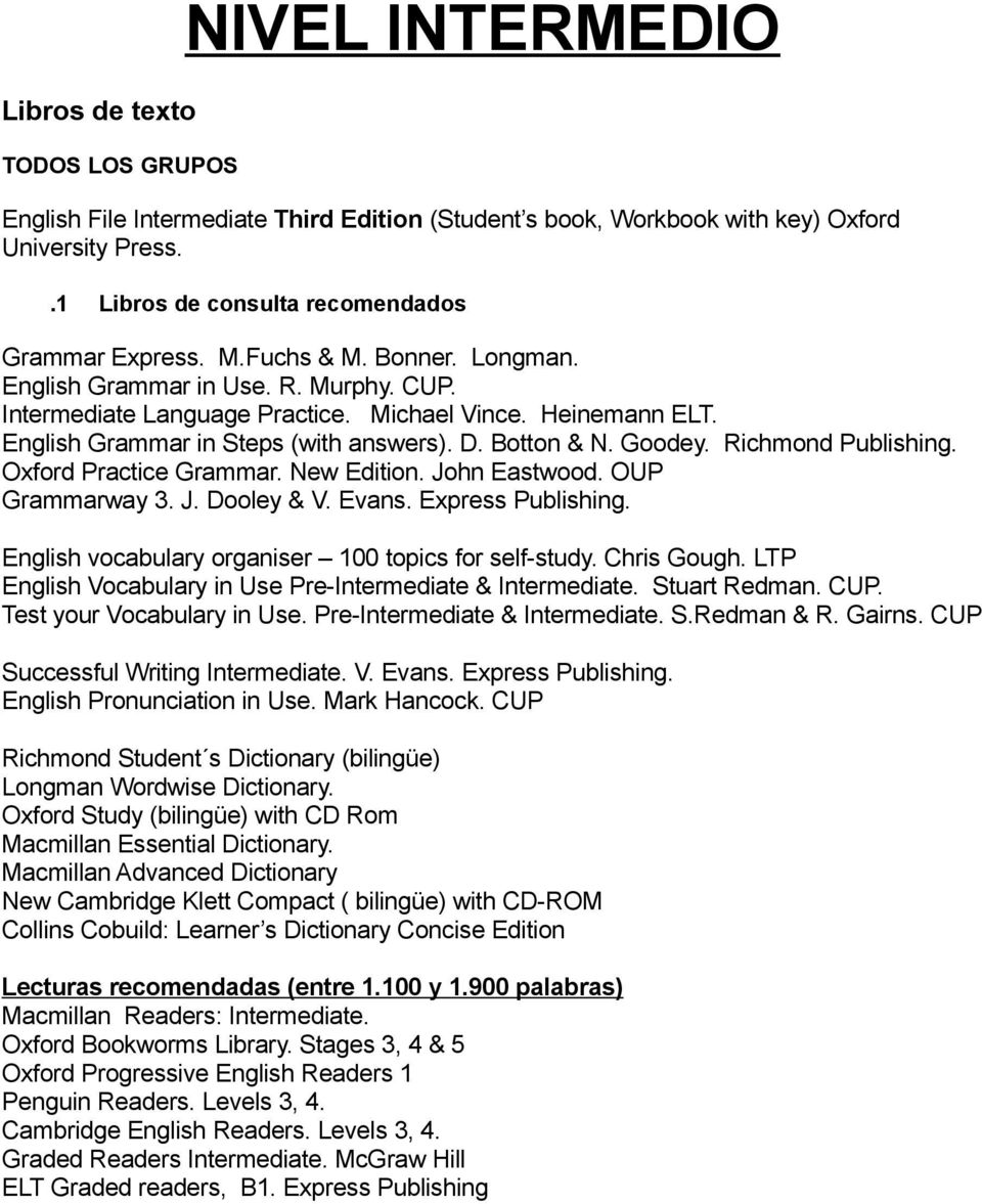 Richmond Publishing. Oxford Practice Grammar. New Edition. John Eastwood. OUP Grammarway 3. J. Dooley & V. Evans. Express Publishing. English vocabulary organiser 100 topics for self-study.