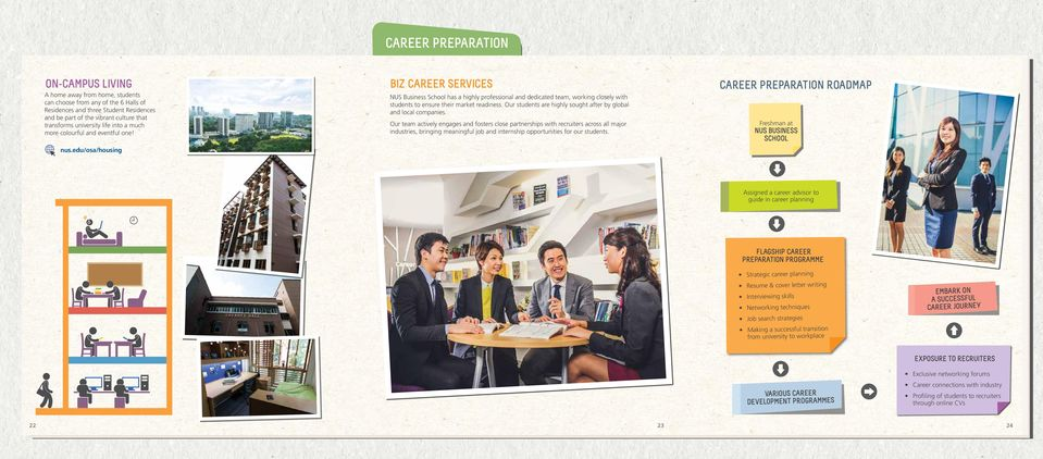 edu/osa/housing BIZ CAREER SERVICES NUS Business School has a highly professional and dedicated team, working closely with students to ensure their market readiness.