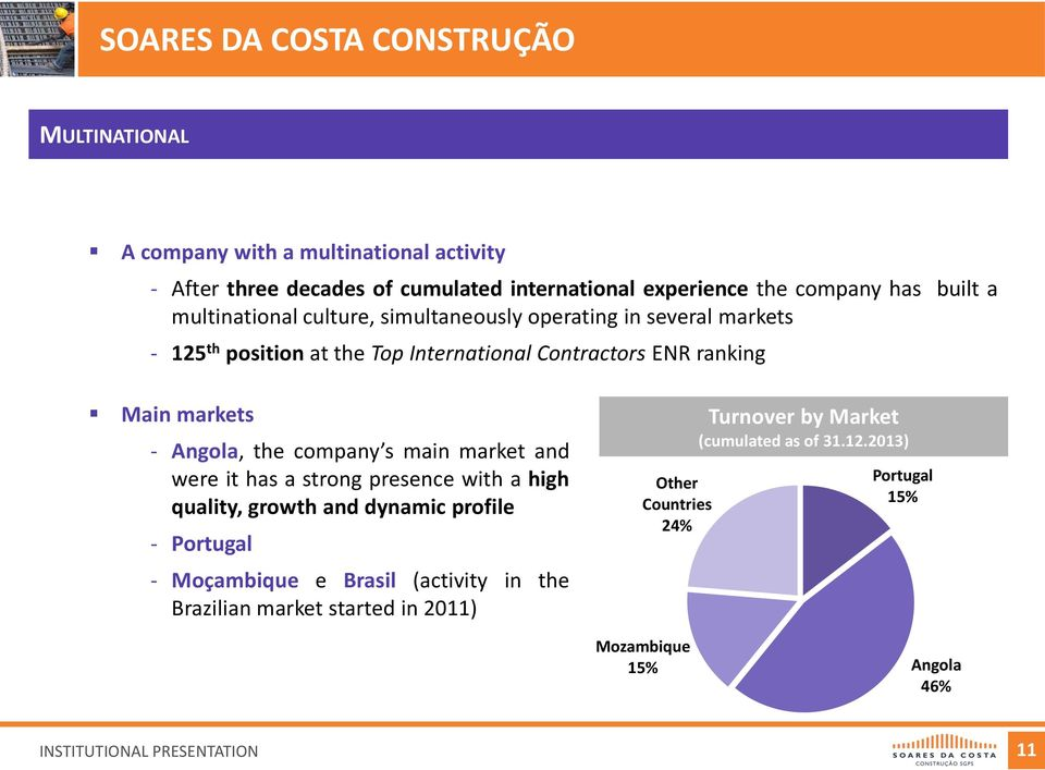 Angola, the company s main market and were it has a strong presence with a high quality, growth and dynamic profile - Portugal - Moçambique e Brasil