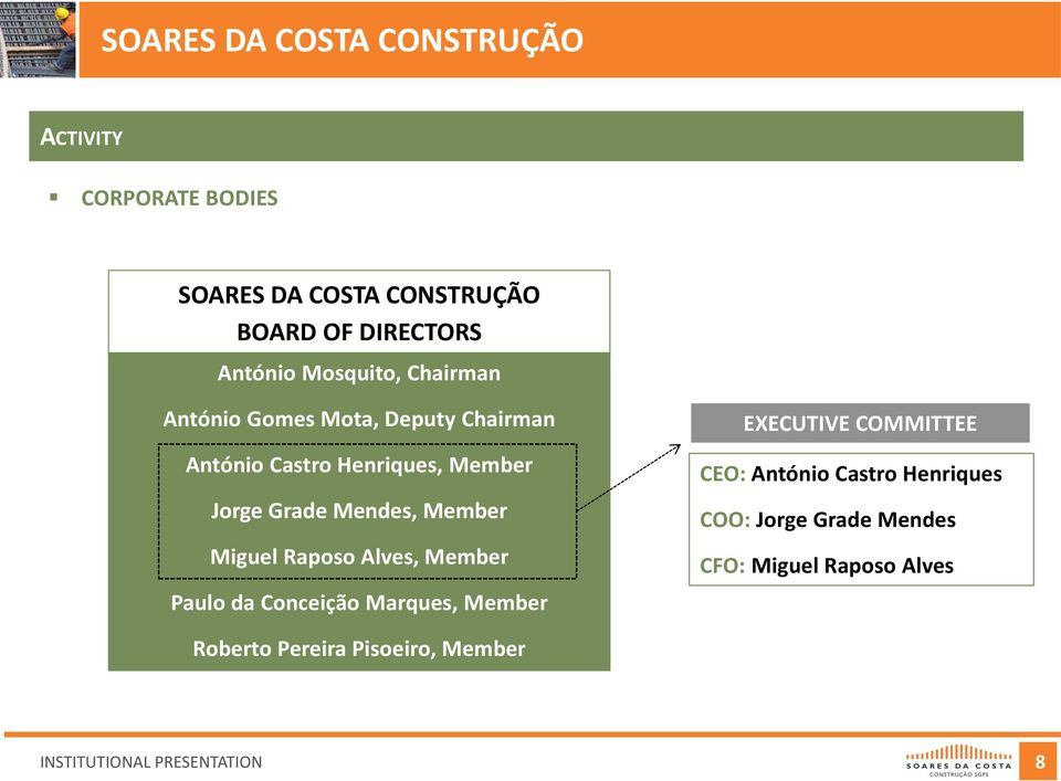 Member Miguel Raposo Alves, Member Paulo da Conceição Marques, Member EXECUTIVE COMMITTEE CEO: