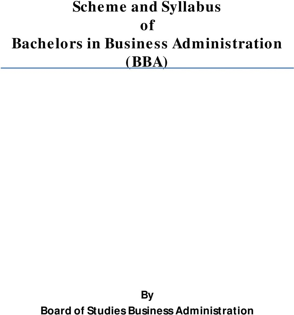 Administration (BBA) By
