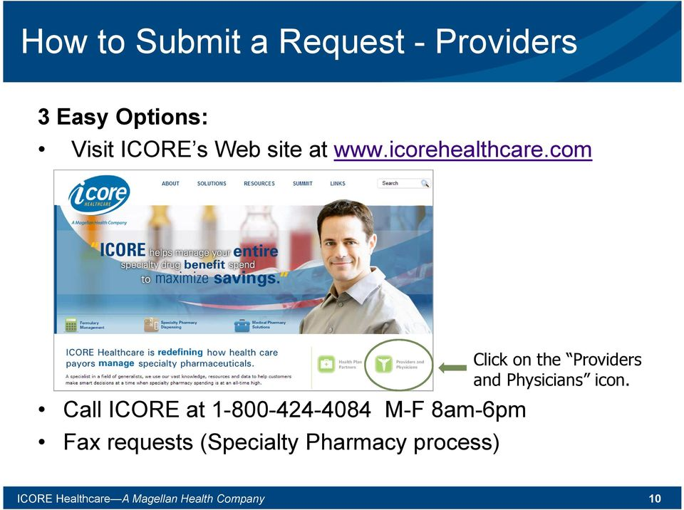 com Call ICORE at 1-800-424-4084 M-F 8am-6pm Fax requests (Specialty
