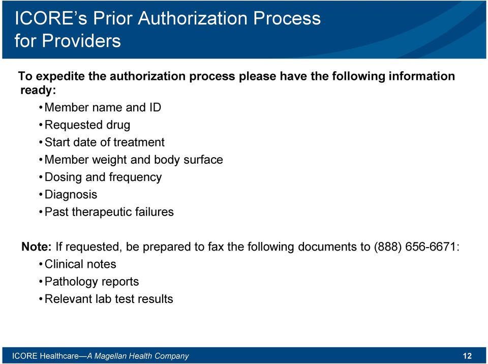 and frequency Diagnosis Past therapeutic failures Note: If requested, be prepared to fax the following documents to