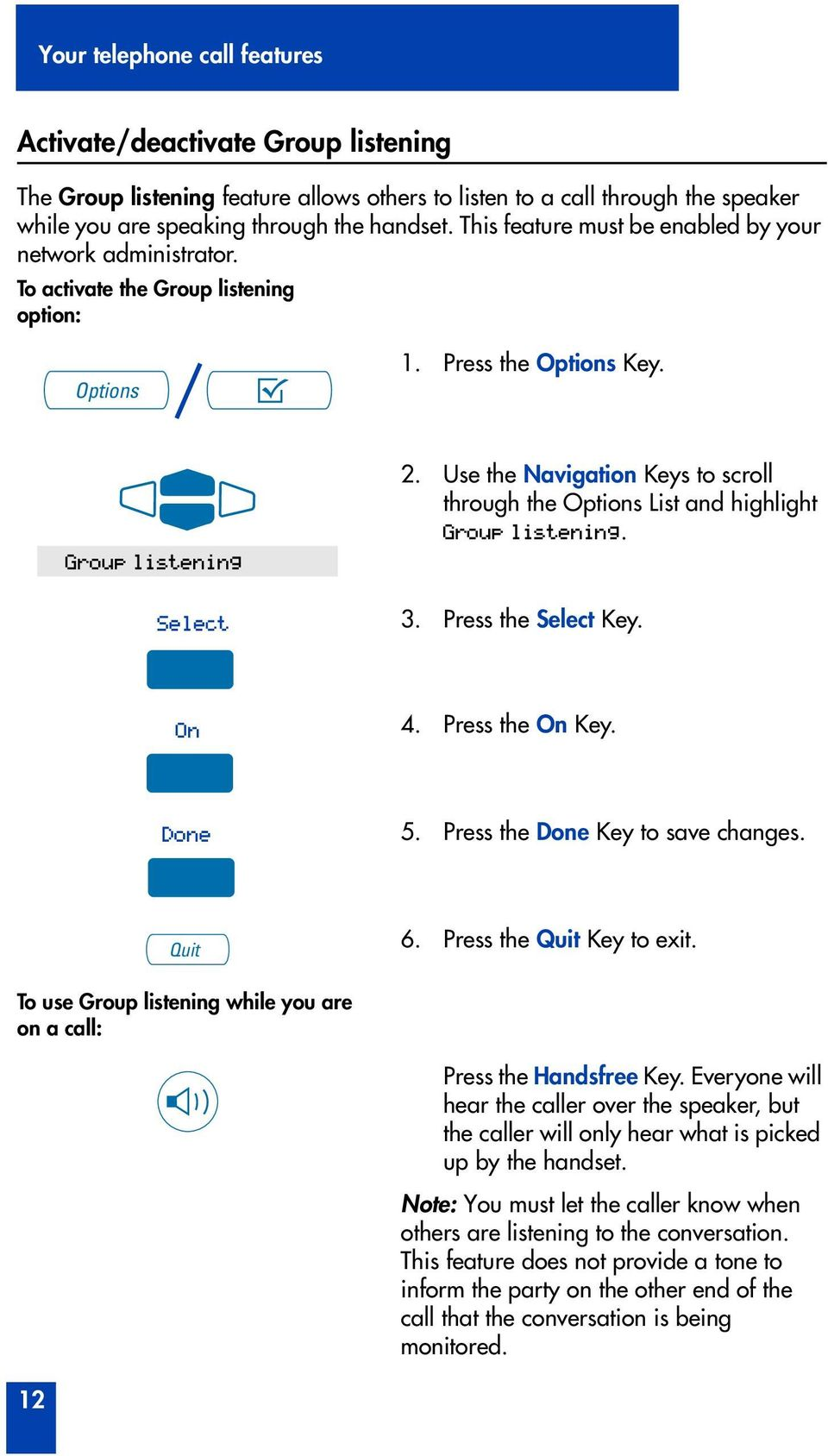Use the Navigation Keys to scroll through the Options List and highlight Group listening. 3. Press the Select Key. On 4. Press the On Key. Done 5. Press the Done Key to save changes. Quit 6.