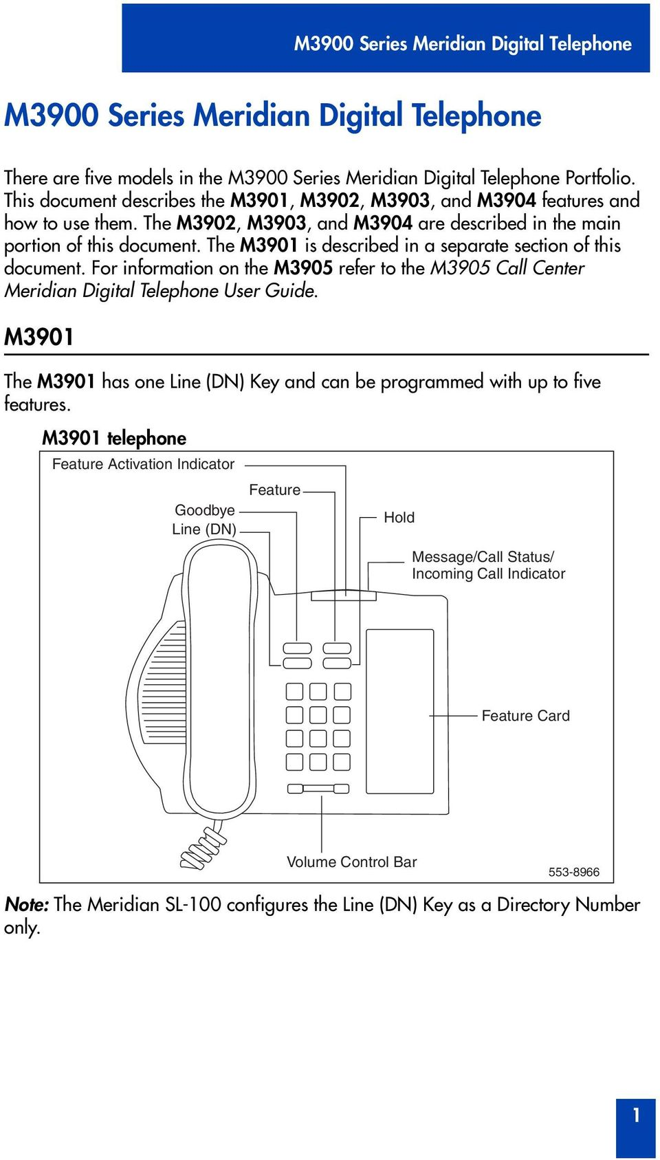 The M3901 is described in a separate section of this document. F infmation on the M3905 refer to the M3905 Call Center Meridian Digital Telephone User Guide.