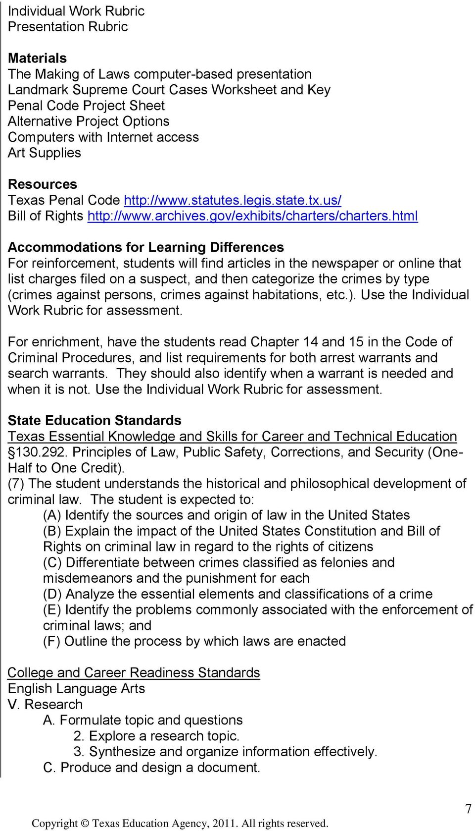 html Accommodations for Learning Differences For reinforcement, students will find articles in the newspaper or online that list charges filed on a suspect, and then categorize the crimes by type