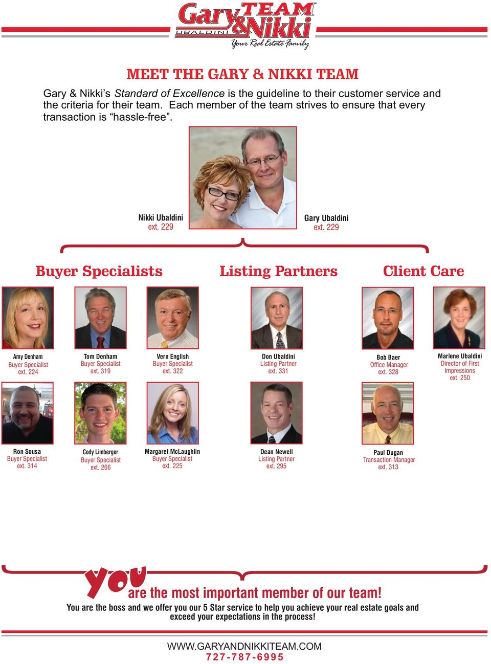 229 Buyer Specialists Listing Partners Client Care Amy Denham Buyer Specialist ext. 224 Tom Denham Buyer Specialist ext. 319 Vern English Buyer Specialist ext. 322 Don Ubaldini Listing Partner ext.