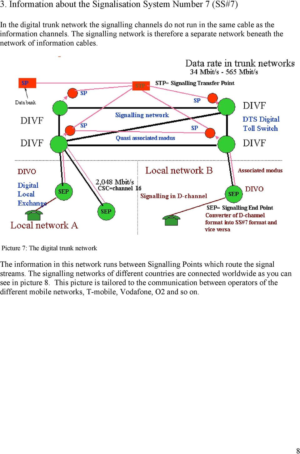 Picture 7: The digital trunk network The information in this network runs between Signalling Points which route the signal streams.