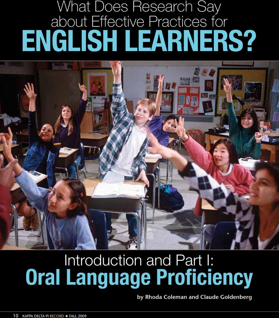 Introduction and Part I: Oral Language