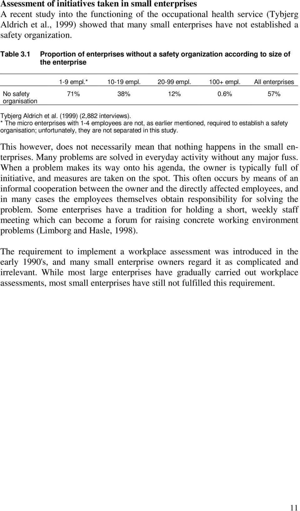 * 10-19 empl. 20-99 empl. 100+ empl. All enterprises No safety organisation 71% 38% 12% 0.6% 57% Tybjerg Aldrich et al. (1999) (2,882 interviews).