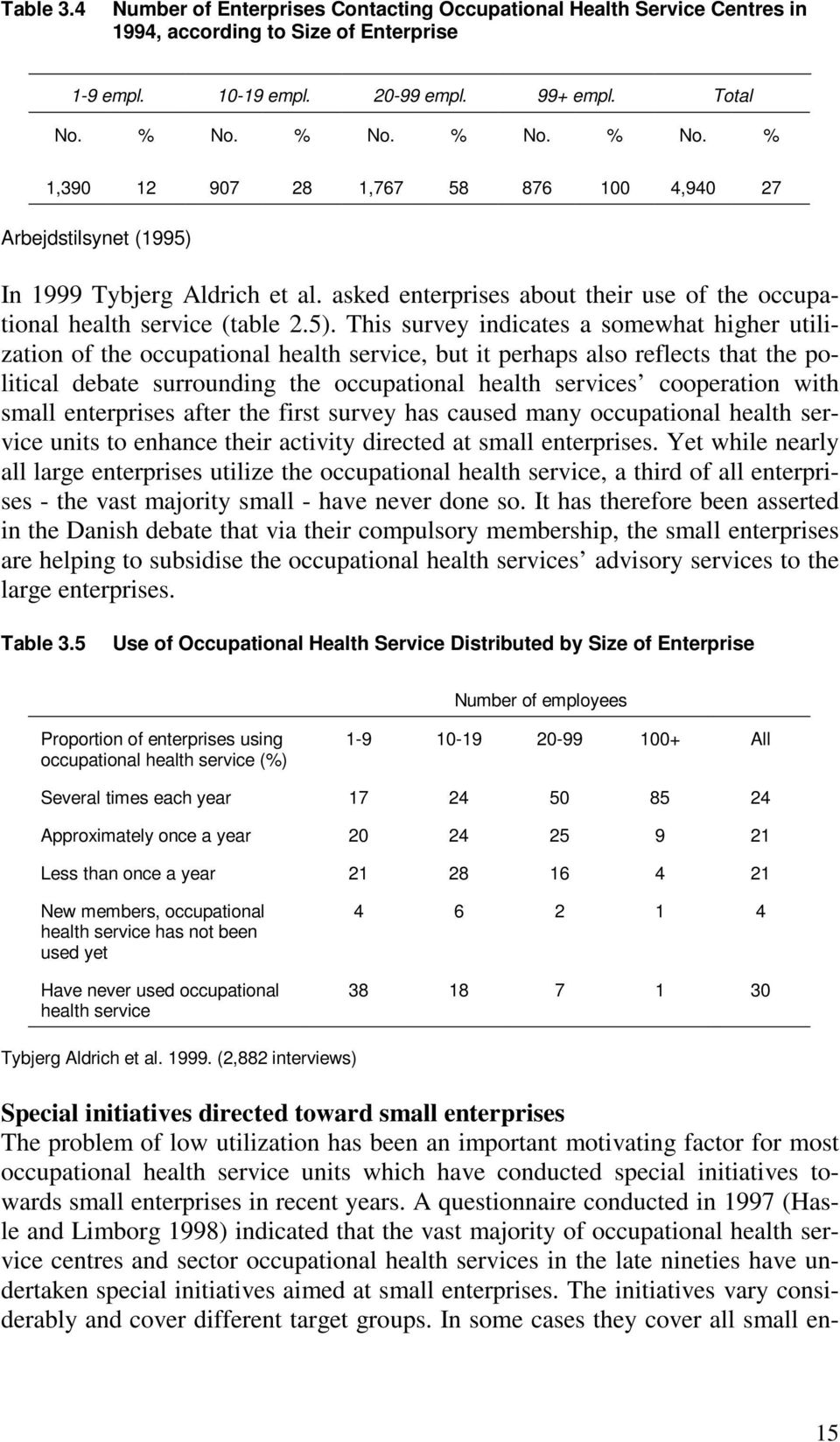 In 1999 Tybjerg Aldrich et al. asked enterprises about their use of the occupational health service (table 2.5).