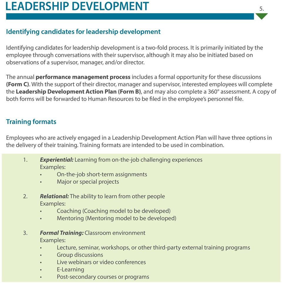 opportunity for these discussions (Form C) With the support of their director, manager and supervisor, interested employees will complete the Leadership Development Action Plan (Form B), and may also