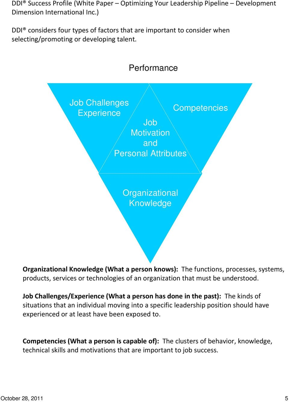 Performance Job Challenges Competencies Experience Job Motivation and Personal Attributes Organizational Knowledge Organizational Knowledge (What a person knows): The functions, processes, systems,