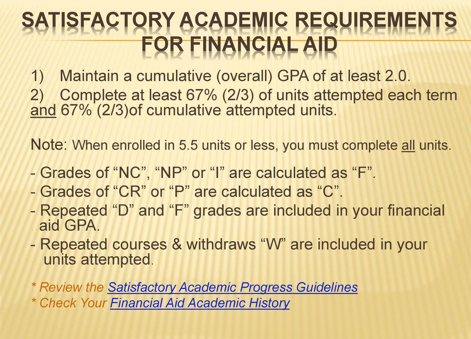 5 units or less, you must complete all units. - Grades of NC, NP or I are calculated as F. - Grades of CR or P are calculated as C.
