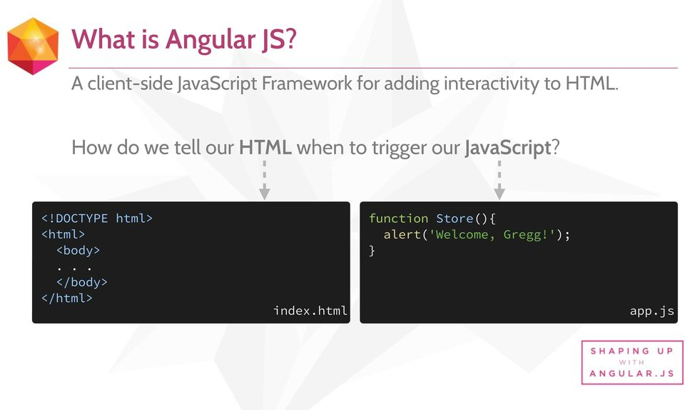 HTML. How do we tell our HTML when to trigger our JavaScript? <!