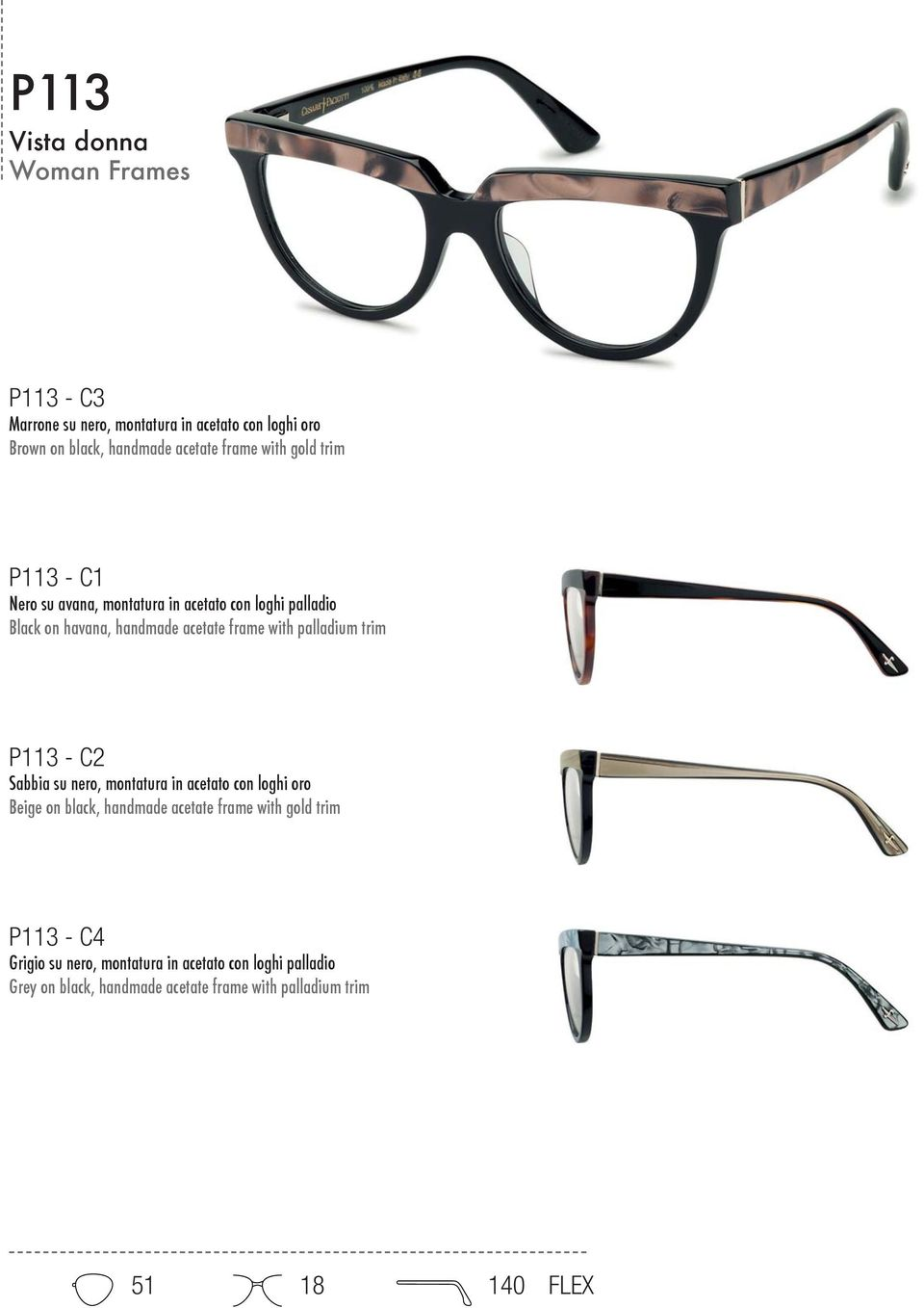 palladium trim P113 - C2 Sabbia su nero, montatura in acetato con loghi oro Beige on black, handmade acetate frame with gold