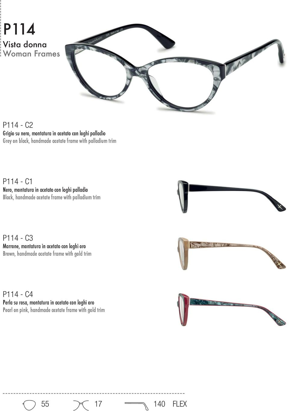palladium trim P114 - C3 Marrone, montatura in acetato con loghi oro Brown, handmade acetate frame with gold trim P114
