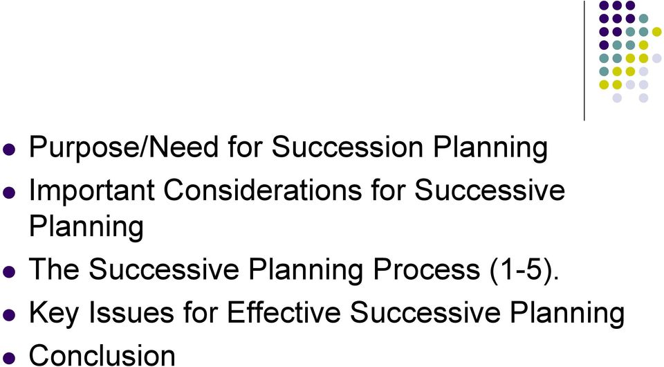 Planning The Successive Planning Process
