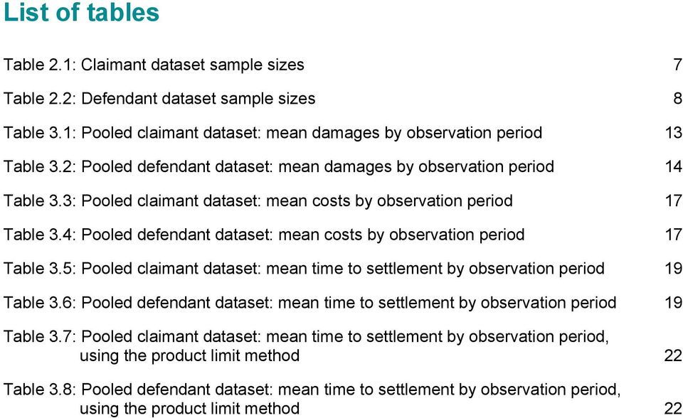 4: Pooled defendant dataset: mean costs by observation period 17 Table 3.5: Pooled claimant dataset: mean time to settlement by observation period 19 Table 3.