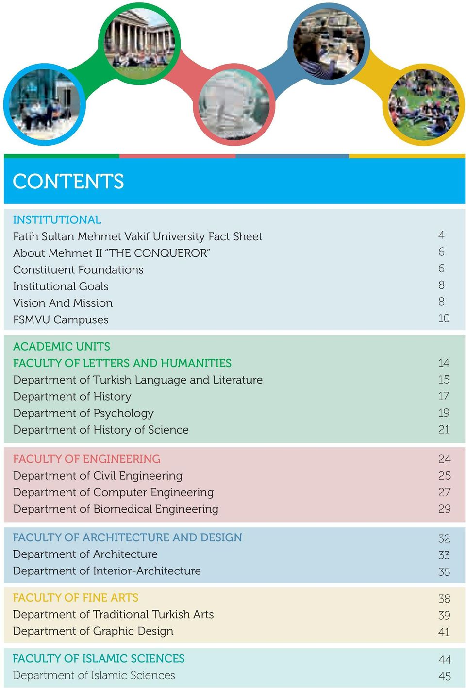 Civil Engineering Department of Computer Engineering Department of Biomedical Engineering FACULTY OF ARCHITECTURE AND DESIGN Department of Architecture Department of Interior-Architecture FACULTY