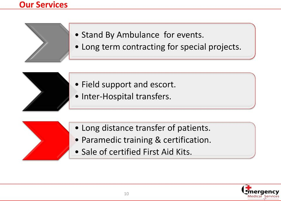 Field support and escort. Inter-Hospital transfers.