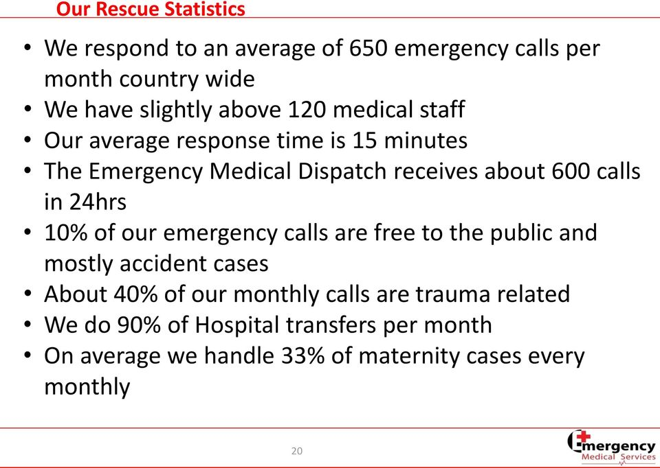 24hrs 10% of our emergency calls are free to the public and mostly accident cases About 40% of our monthly calls are
