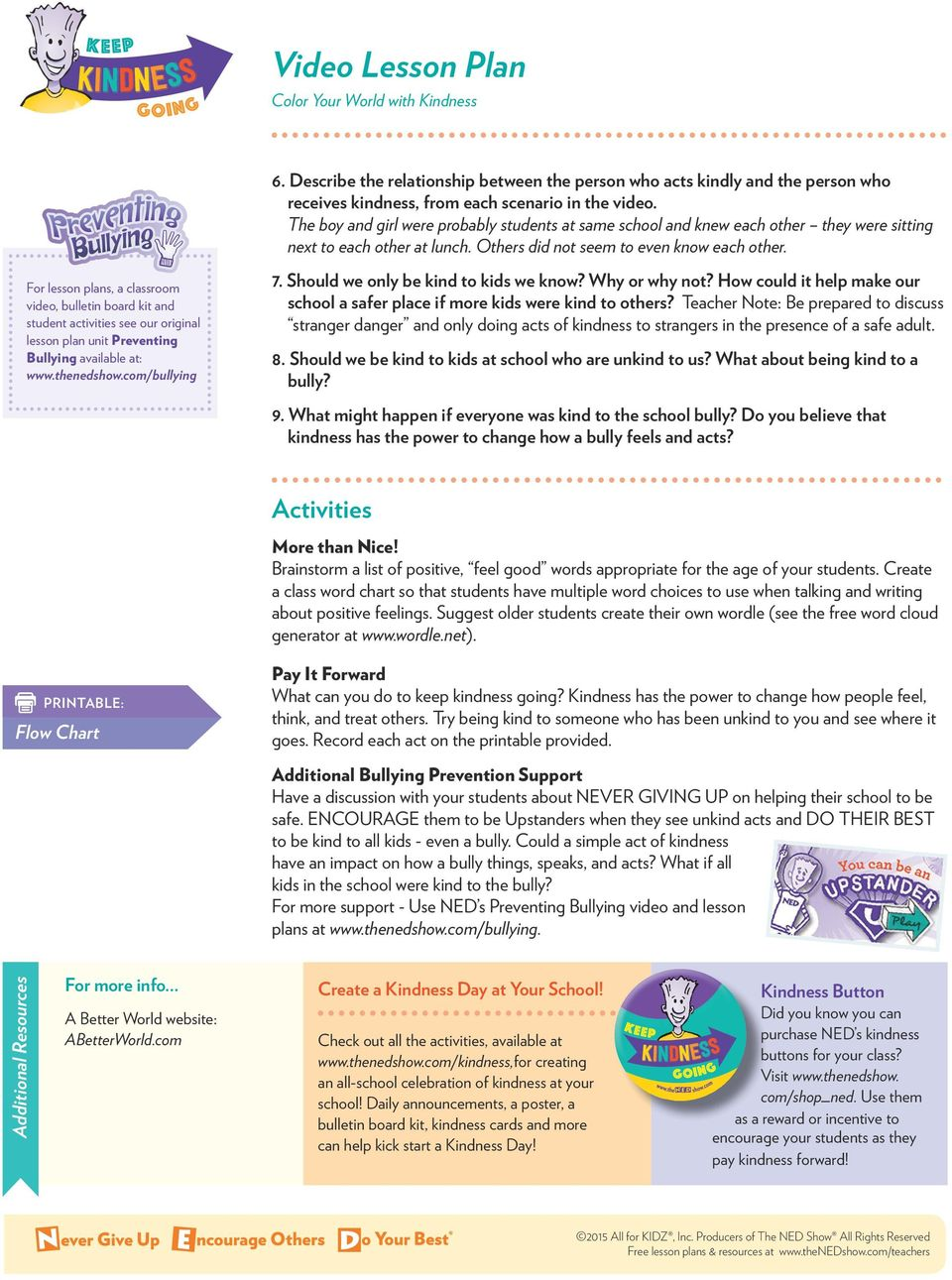 For lesson plans, a classroom video, bulletin board kit and student activities see our original lesson plan unit Preventing Bullying available at: www.thenedshow.com/bullying 7.