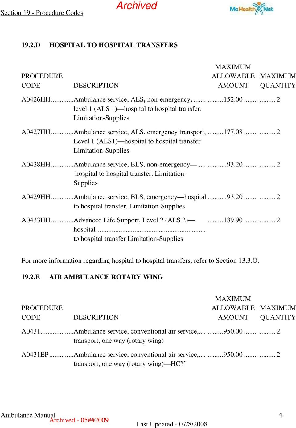 00...... 2...177.08...... 2...93.20...... 2 A0429HH...Ambulance service, BLS, emergency hospital...93.20...... 2 to hospital transfer. A0433HH...Advanced Life Support, Level 2 (ALS 2)...189.90.